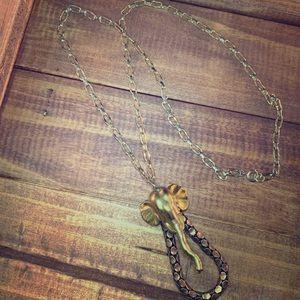 Beautiful gold toned elephant costume necklace